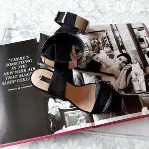 Zara Basic black suede block heel sandal, 36